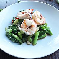 Stir fried Chinese Kale with prawns serve with steam rice