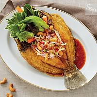 Deep fried snapper with Chili Sauce