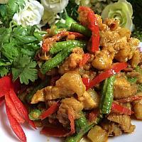 Stir fried chili paste with pork or chicken