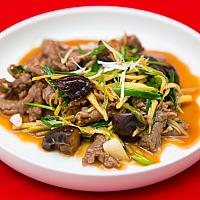 Stir Fried Beef with Ginger and Spring Onions #0034