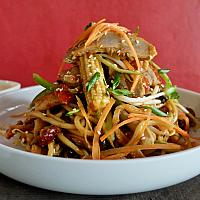 17 Chow Mein with Roast BBQ Marinated Duck .  (ผัดเส้นเหลืองเป็ด)