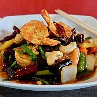 76 Shrimps (Small Prawns) with Kung Pao Sauce  (กุ้งเล็กผัดเม็ดมะม่วงหิมพานต์)
