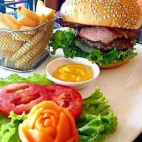 100% Homemade Bacon Cheese Burger