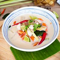 Vegan tom kha with omnipork
