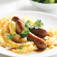 Pork Sausages with crushed potatoes