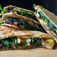 Spinach and Mushroom Quesadilla with Vegan Feta