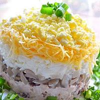 Smoked chicken breast salad with cheese