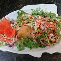 Deep Fried Sea Bass Fillet With Mango Salad