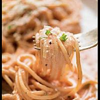 49. Pasta with pink sauce