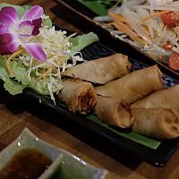 Deep fried shrimps spring rolls