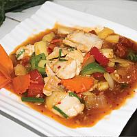 Sweet and sour chicken. With steam rice.