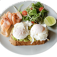 Avocado, Salmon & Poached Eggs on Toast