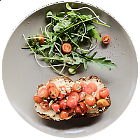 Hummus & Tomato on Toast