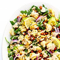 Roasted Cauliflower Spicy Chickpea Salad with Honey Mustard Dressing