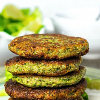 Vegetable Patties with Housemade Dippping Sauce Served with Green Salad