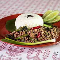Hot meat salad Laarb Yam (served with boiled rice)