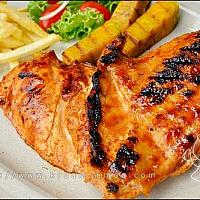 GRILLED CHICKEN-STEAK, SALAD AND FRENCH-FRIES