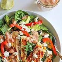 Grilled Chicken Salad, Cashew Nuts with Garlic Cream Sauce