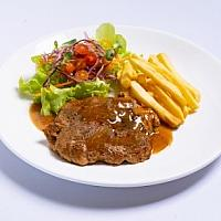 Grilled Pork Steak with Black Pepper Sauce