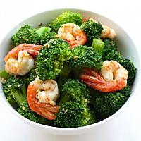 Fried Broccoli with Oyster sauce and Prawn