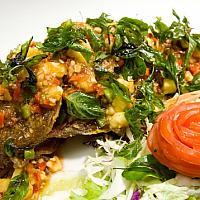 Deep Fried Whole Seabass with Green mango Salad