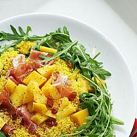 Mango and parma ham salad