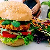 Vegetarian Burger with super healthy patty and salad