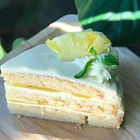 White chocolate pineapple cake.