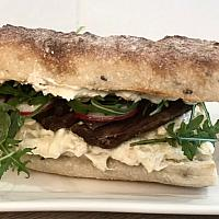 Sourdough Baguette sandwich with grilled beef