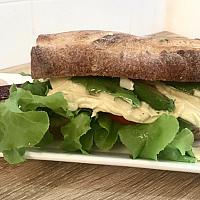 Sourdough baguette sandwich (chicken, avocado)