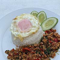 Pad Kra Pow Moo kai Dow