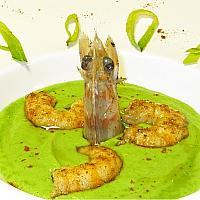 Gamberi alla Griglia su Crema di Piselli e Crostini (4 Gamberi)