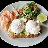 Avocado, Salmon & Poached Eggs on Toast