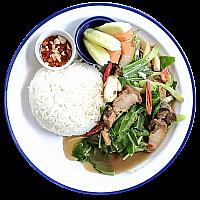 Ka-Na Moo Krob w/steamed rice
