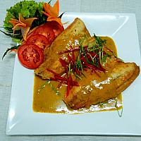 Deep Fried Fillet Sea Bas with Curry sauce