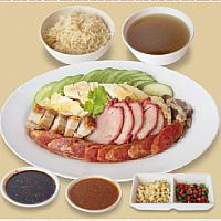 Set Boiled Chicken Rice,BBQ Pork,Crispy Pork / เซ็ทข้าวมันไก่,หมูแดง,หมูกรอบ (L)