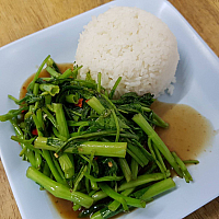 Fries Morning Glory with Rice