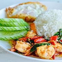 Pad Kraw Pao with Shrimp
