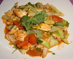 Stir Fried Sweet and Sour Phad Priew Waan Goong or Talay