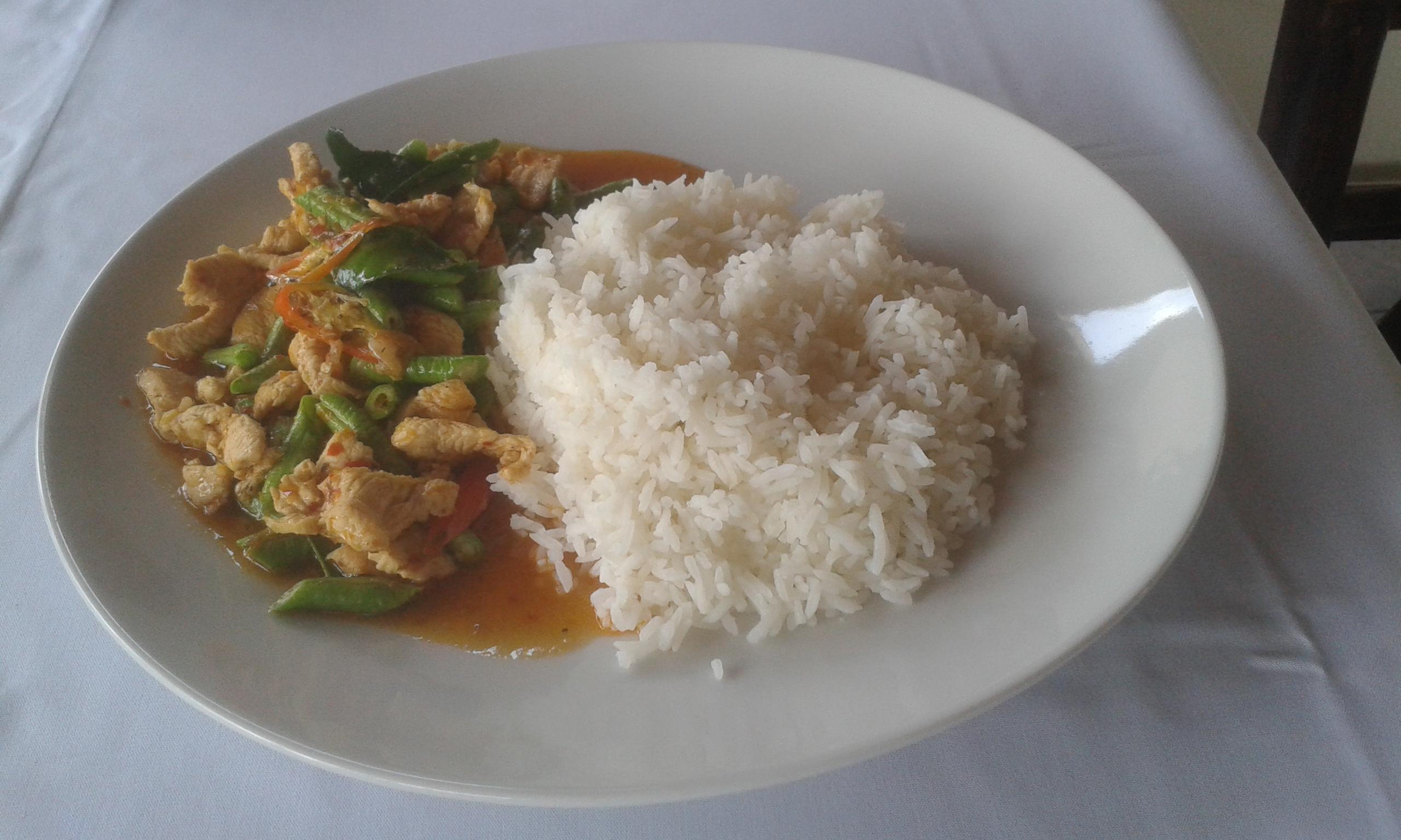fried red curry and steam rice