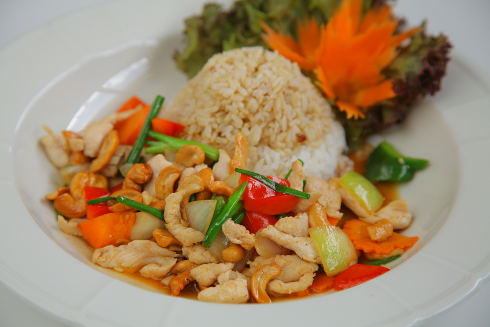 Fried Vegetables with Cashew Nuts - Served with rice
