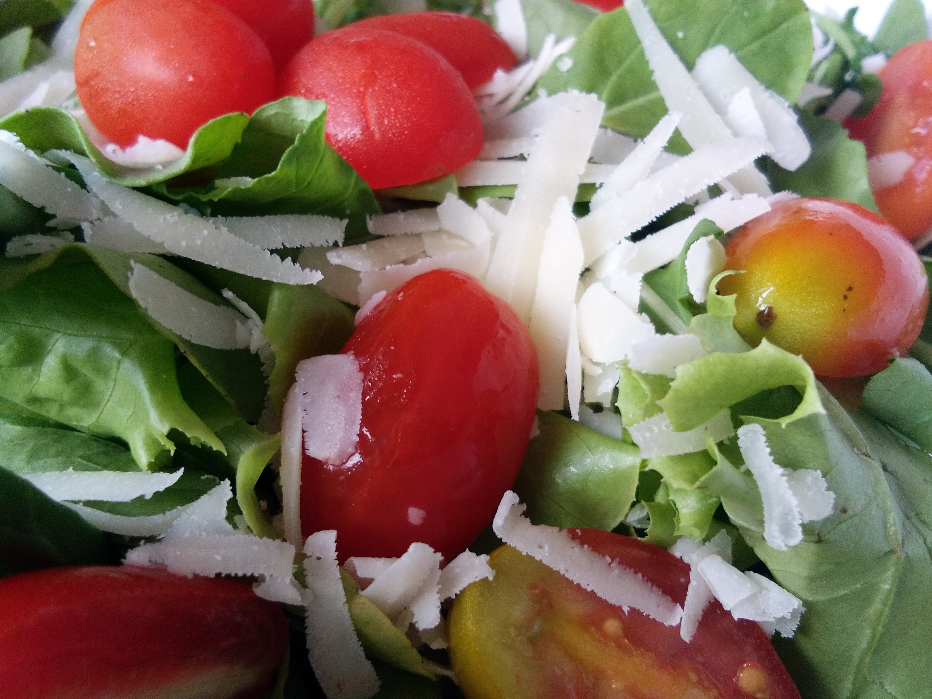 Green salad , Rocket, Cherry tomatoes and Shaven parmesan cheese