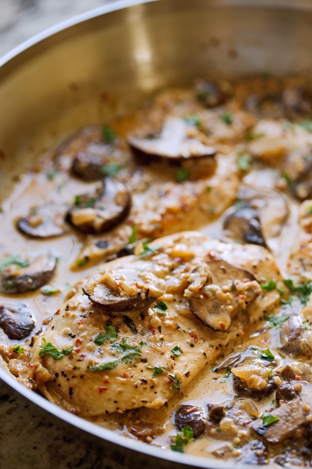 Chicken Breast with white mushroom sauce