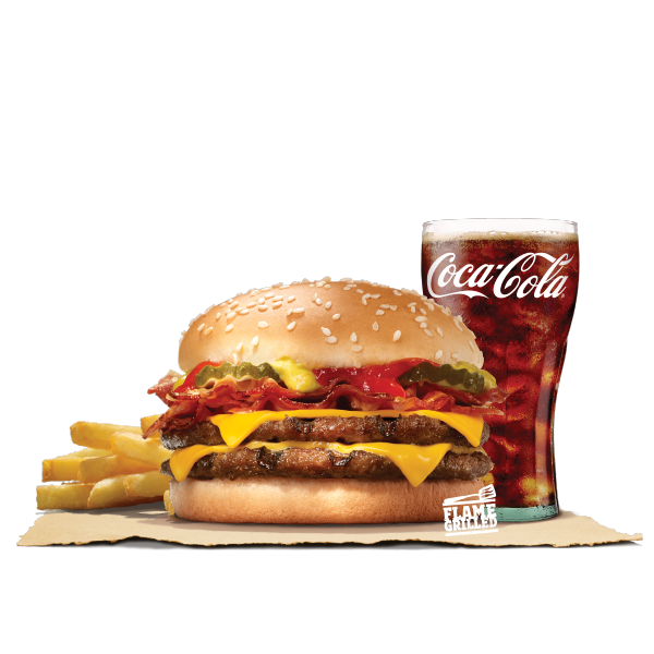 DOUBLE CHEESEBURGER BACON VALUE MEAL (PORK)