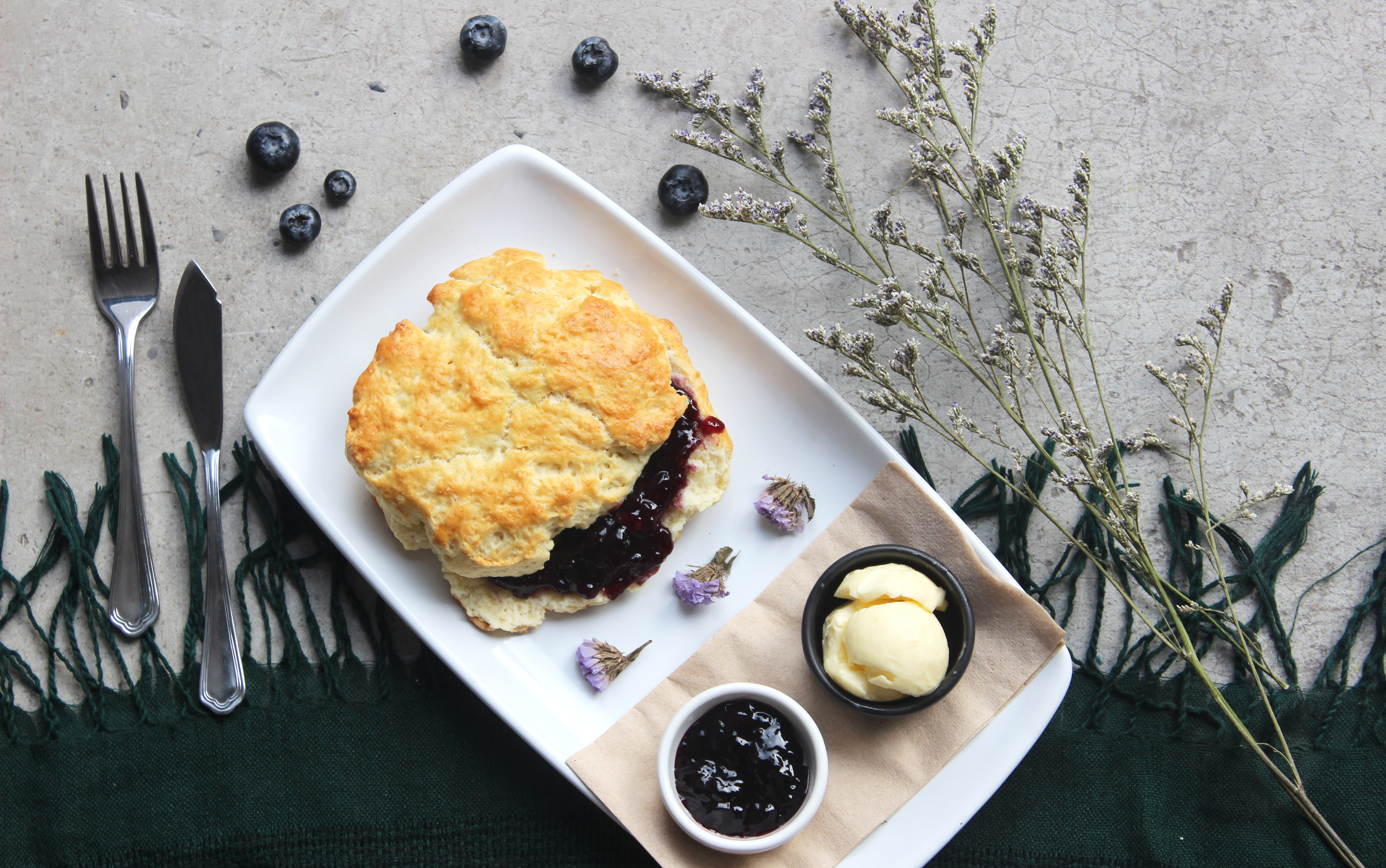 Biscuit with Butter and Jam