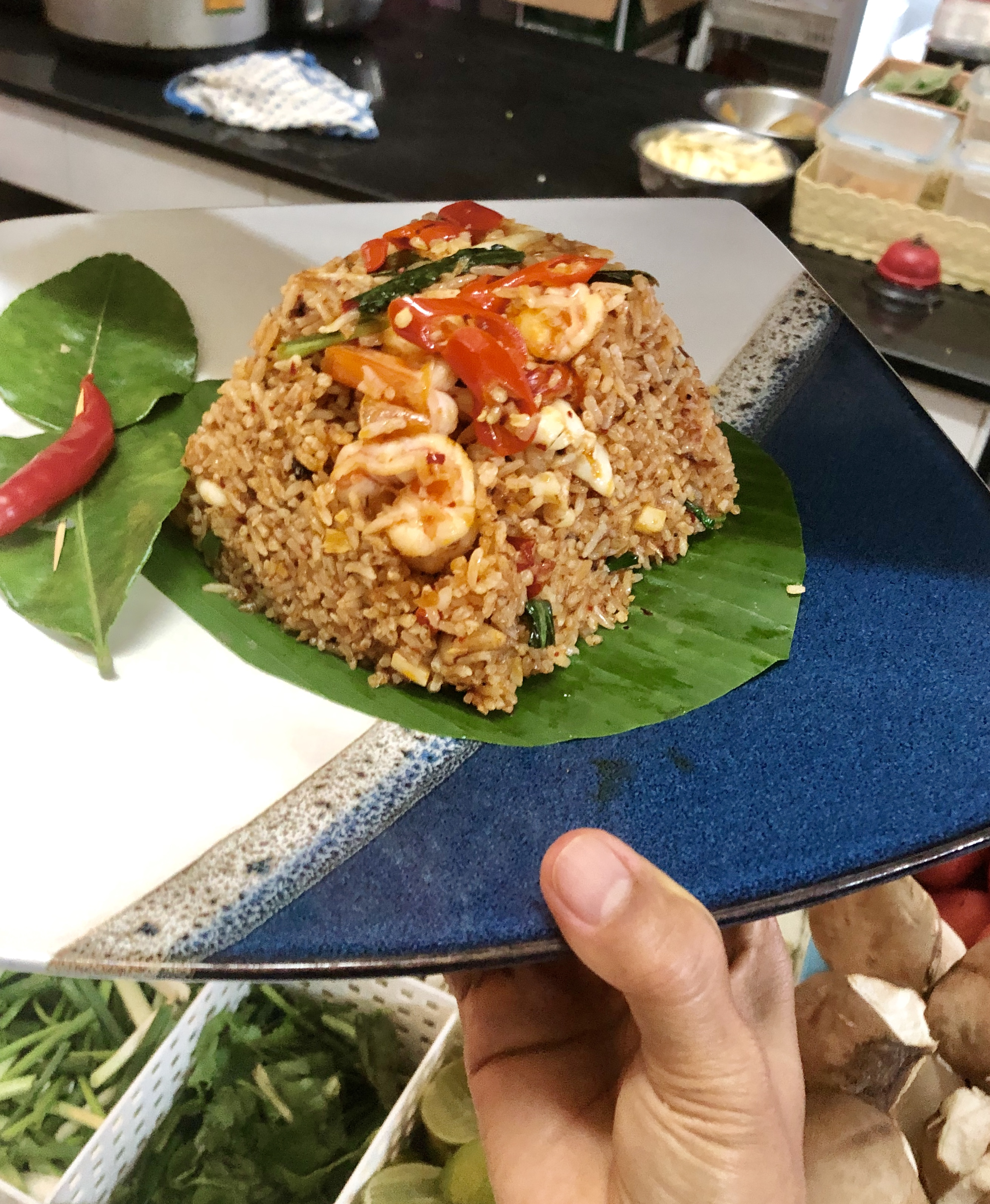 Fried Rice with Tom Yum Kung Seafood
