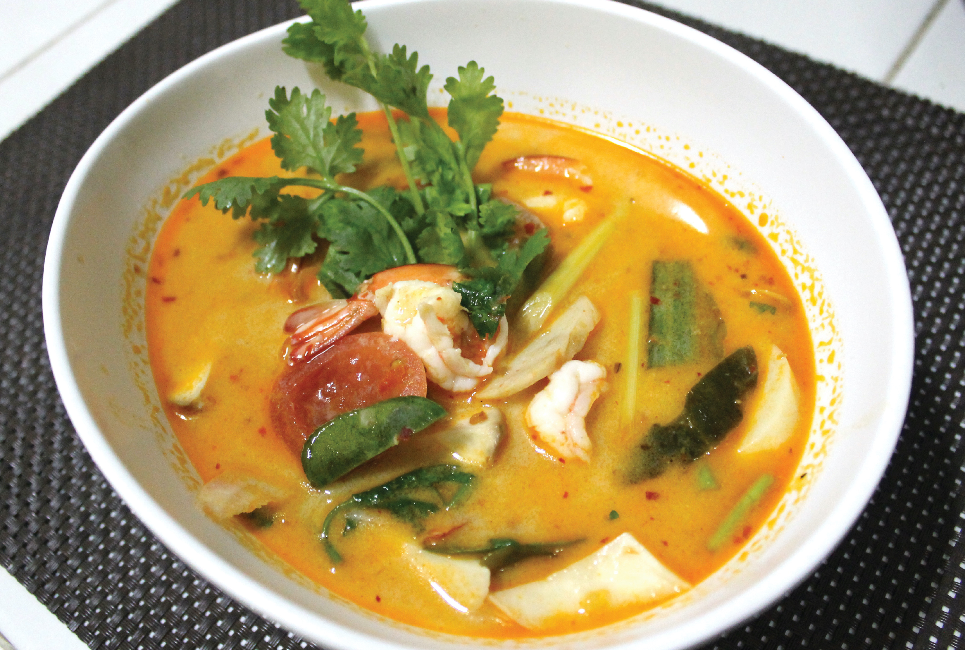 Tom Yum Seafood with steam rice.