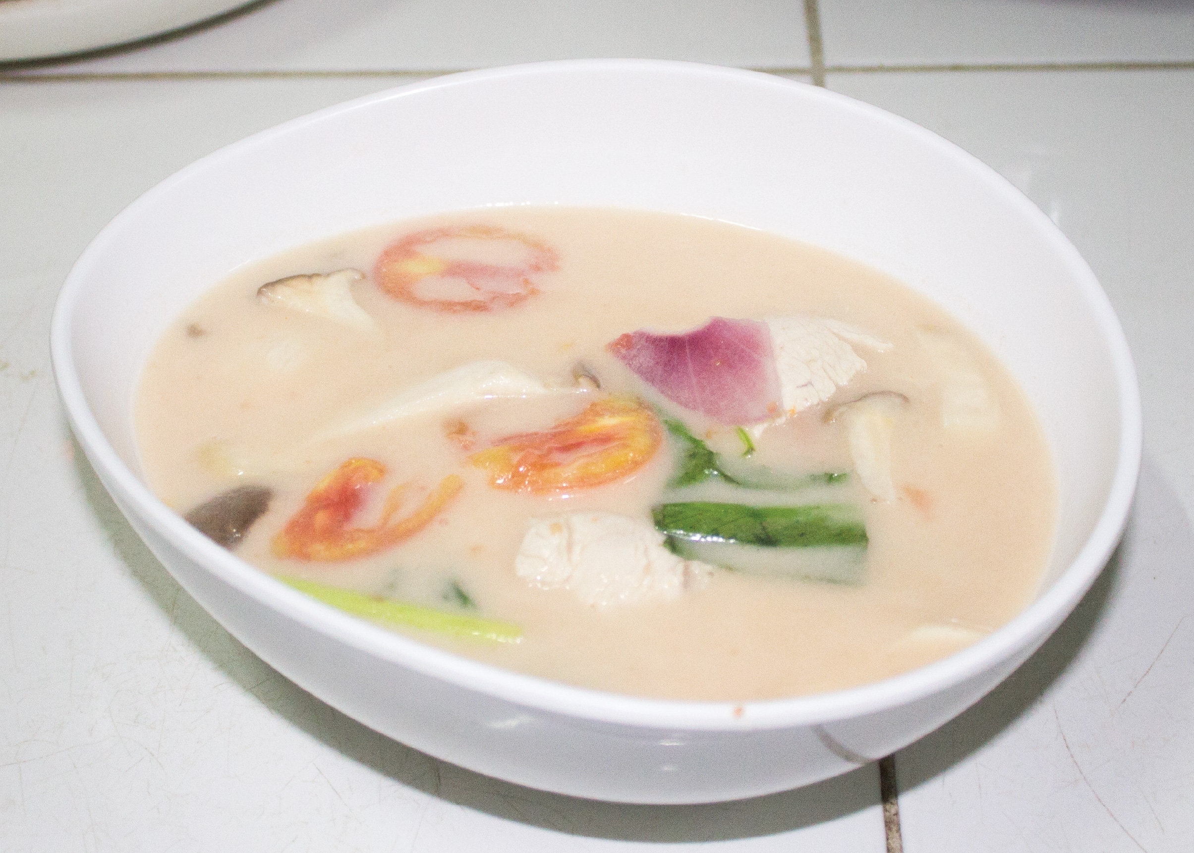 Tom Kha Gai with steam rice