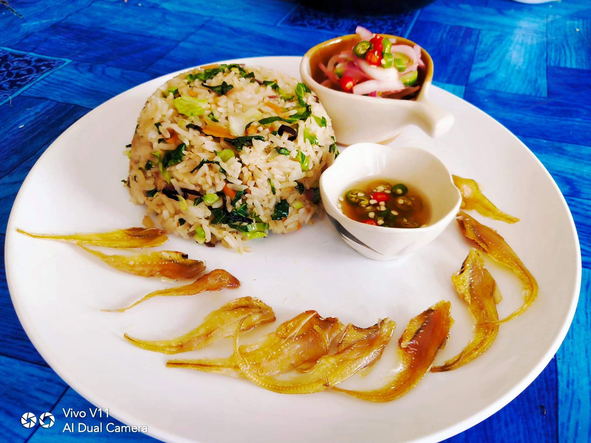 Fried rice prawns