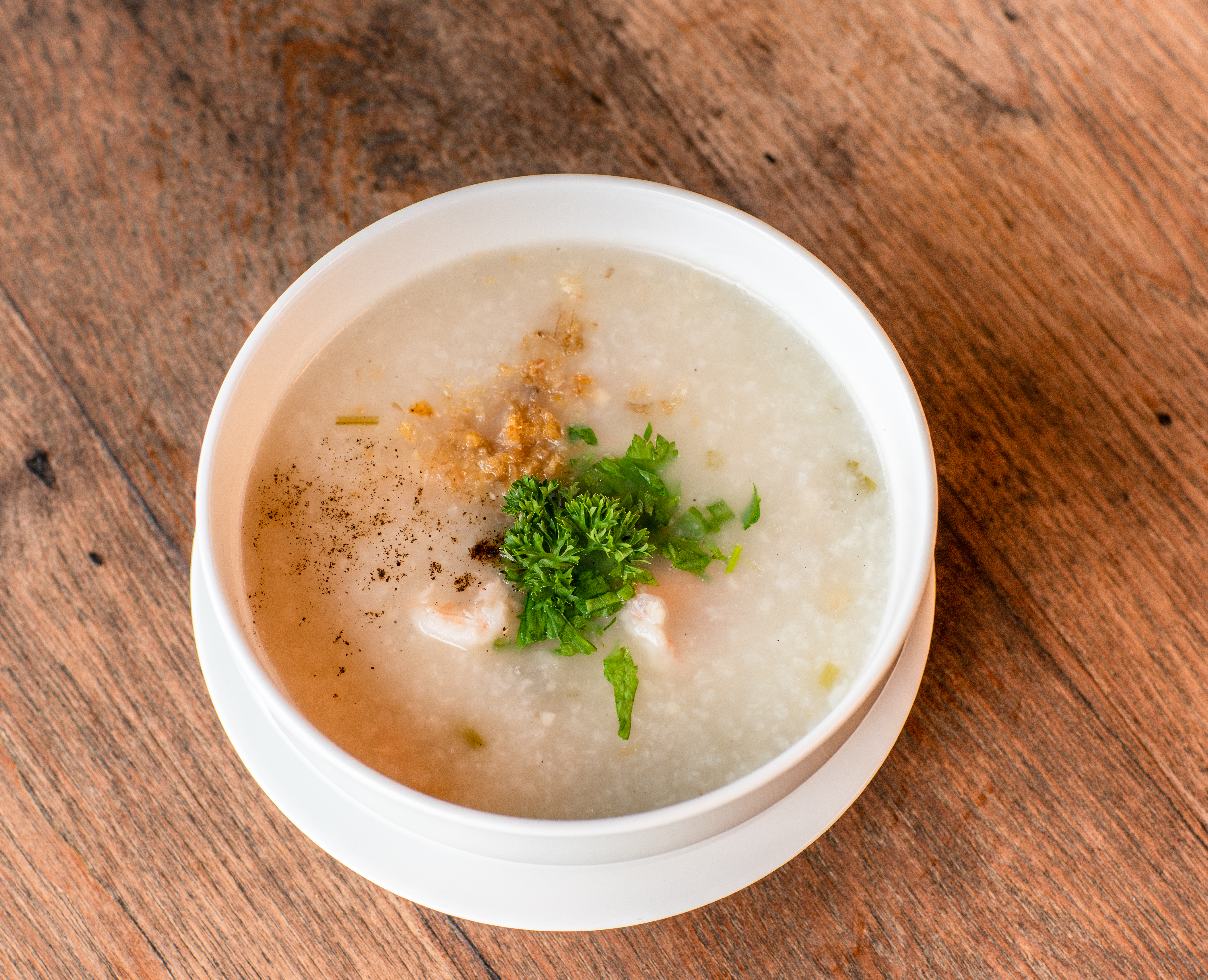 Rice soup with chicken or shrimps